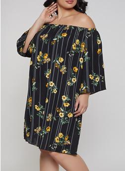 Plus Size Floral Striped Off the Shoulder Dress - 8476054262115