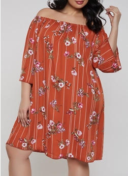Plus Size Floral Striped Off the Shoulder Dress - 8476054262115