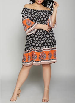 Plus Size Off the Shoulder Border Print Dress - 8476054267111