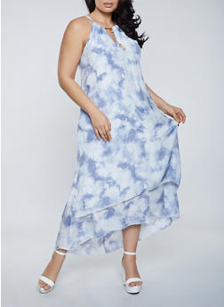 Plus Size Blue Tie Dye Maxi Dress - 8476056120130