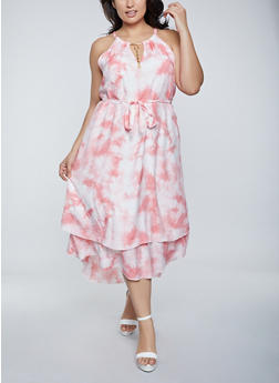 Plus Size Tie Dye High Low Dress - 8476056121207