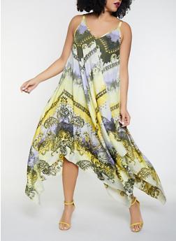 Plus Size Printed Asymmetrical Dress - 8476056121457