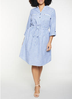 Plus Size Striped Linen Shirt Dress - 8476056121480