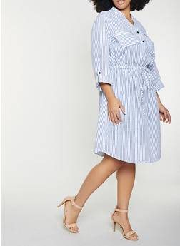 Plus Size Striped Linen Shirt Dress - Blue - Size 2X - 8476056121481
