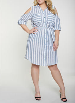Plus Size Striped Cold Shoulder Dress - 8476056121482
