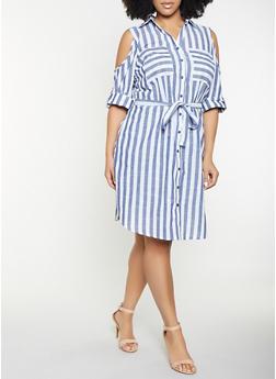 Plus Size Striped Cold Shoulder Shirt Dress - 8476056121483