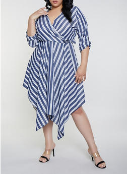 Plus Size Striped Faux Wrap Asymmetrical Dress - 8476056121505