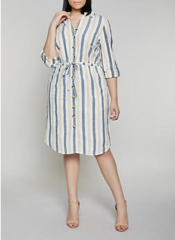 Plus Size Striped Linen Shirt Dress - 8476056121615