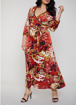 Plus Size Status Print Faux Wrap Maxi Dress - 8476056121673