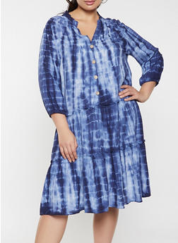 Plus Size Half Button Tie Dye Dress - 8476056122055