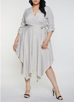 Plus Size Faux Wrap Striped Asymmetrical Dress - 8476056124051