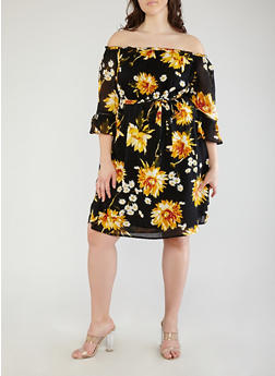 Plus Size Bell Sleeve Off the Shoulder Dress - 8476056125593