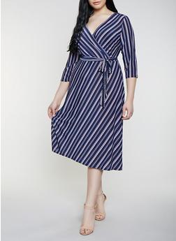 Plus Size Striped Faux Wrap Dress | 8476056126141 - Blue - Size 3X - 8476056126141