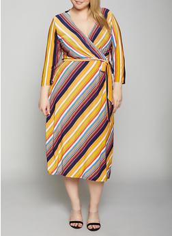 Plus Size Multi Color Striped Dress - Multi - Size 3X - 8476056126163