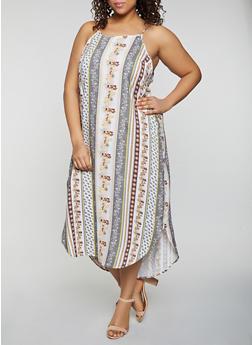 Plus Size Border Print Sleeveless Maxi Dress - 8476061638602