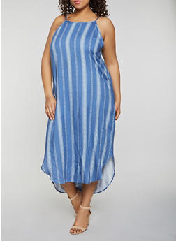 Plus Size Border Print Sleeveless Maxi Dress - 8476061638602