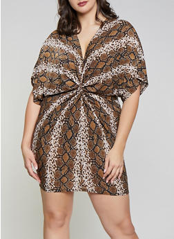 Plus Size Snake Print Twist Front Dress - 8476062121640