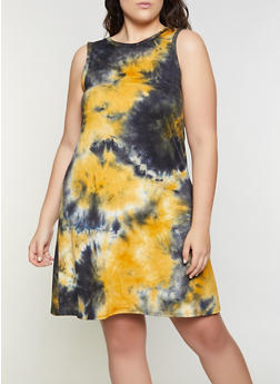 Plus Size Tie Dye Midi Tank Dress - 8476062701000