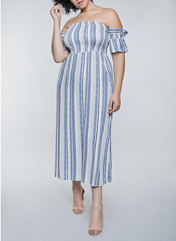 Plus Size Striped Off the Shoulder Maxi Dress - 8476062702735