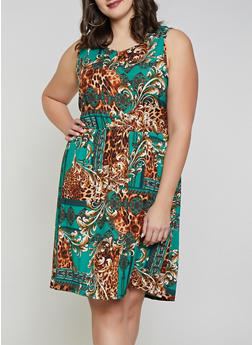 Plus Size Printed Soft Knit Skater Dress - GREEN - 8476062709200