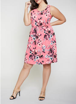 Plus Size Printed Soft Knit Skater Dress - PINK - 8476062709200