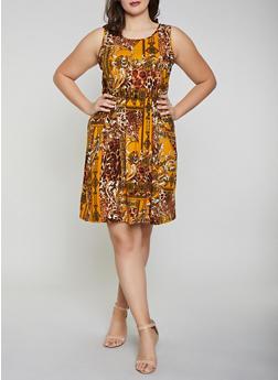 Plus Size Printed Soft Knit Skater Dress - MUSTARD - 8476062709200