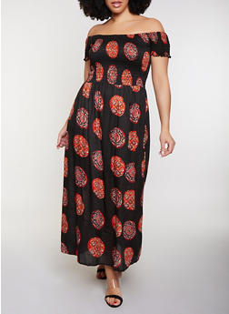 Plus Size Smocked Off the Shoulder Medallion Print Maxi Dress - 8476063501251