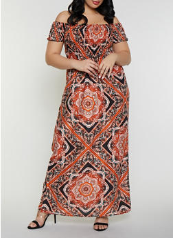 Plus Size Printed Off the Shoulder Maxi Dress - 8476063501731