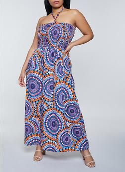Plus Size Halter Neck Printed Maxi Dress - 8476063501800
