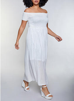 Plus Size Lurex Off the Shoulder Maxi Dress - 8476063502098