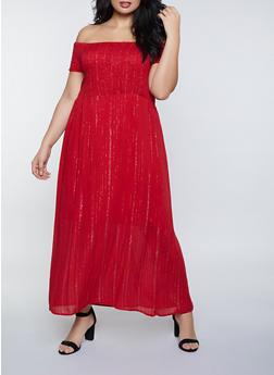 Plus Size Lurex Off the Shoulder Maxi Dress - 8476063502098