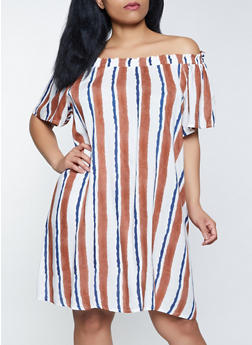 Plus Size Striped Off the Shoulder Peasant Dress - 8476063508921
