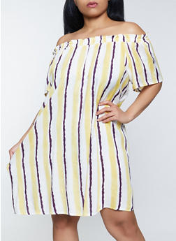 Plus Size Striped Off the Shoulder Peasant Dress - 8476063508921