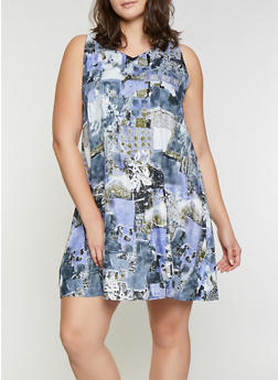 Plus Size Printed Shift Dress - 8476063509130