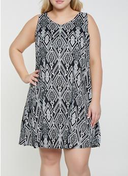 Plus Size Printed Shift Dress - 8476063509131