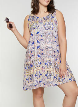 Plus Size Printed Shift Dress - 8476063509131