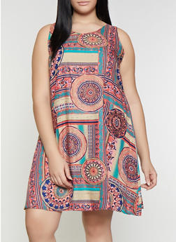 Plus Size Printed Shift Dress - 8476063509133