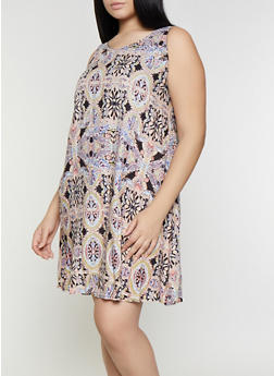 Plus Size Printed Shift Dress - 8476063509134
