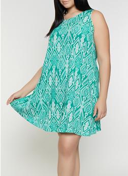 Plus Size Printed Shift Dress - 8476063509134