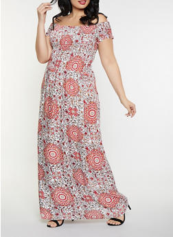 Plus Size Off the Shoulder Printed Maxi Dress - 8476063509135