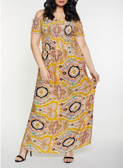 Plus Size Off the Shoulder Printed Maxi Dress - 8476063509136