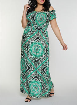 Plus Size Printed Off the Shoulder Maxi Dress - 8476063509137