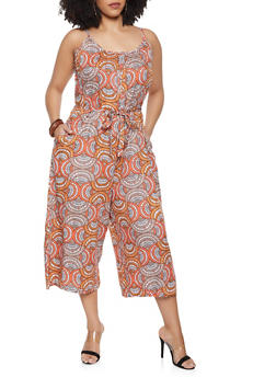 Plus Size Cropped Palazzo Jumpsuit - 8476063509138