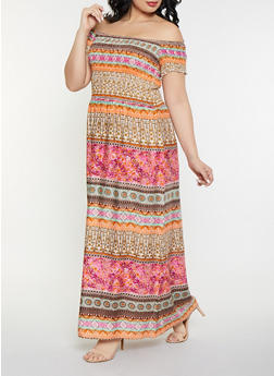 Plus Size Printed Off the Shoulder Maxi Dress - 8476063509139
