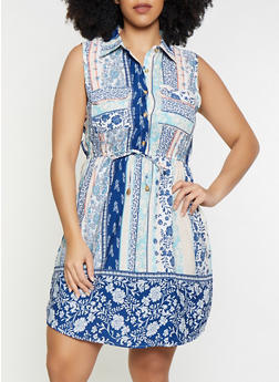 Plus Size Border Print Sleeveless Dress - 8476063509140
