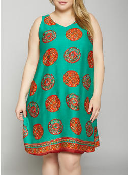 Plus Size Medallion Border Print Sleeveless Shift Dress - 8476063509141