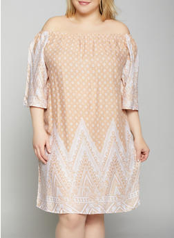 Plus Size Border Print Off the Shoulder Dress - 8476063509142