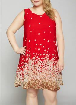Plus Size Floral Shift Dress - 8476063509144