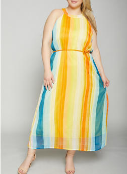 Plus Size Striped Maxi Dress - 8476063509145