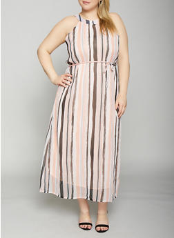 Plus Size Striped Maxi Dress - 8476063509145